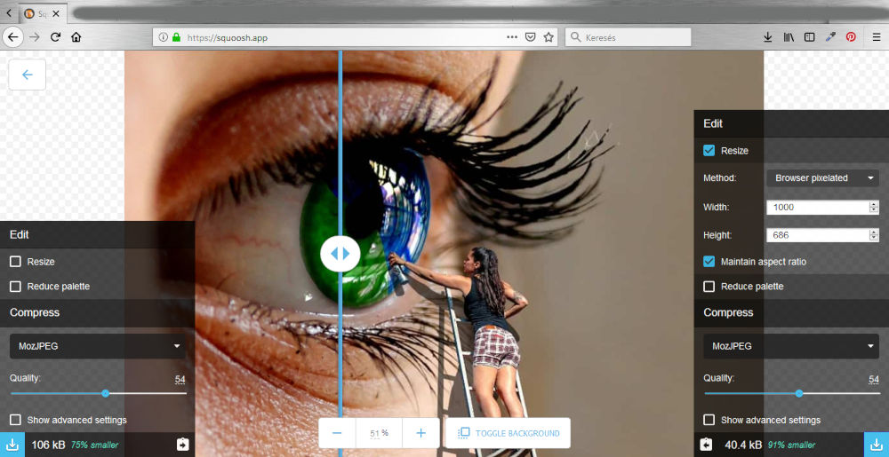 Weboldal fotók optimalizálása Google Quoosh.app segítségével