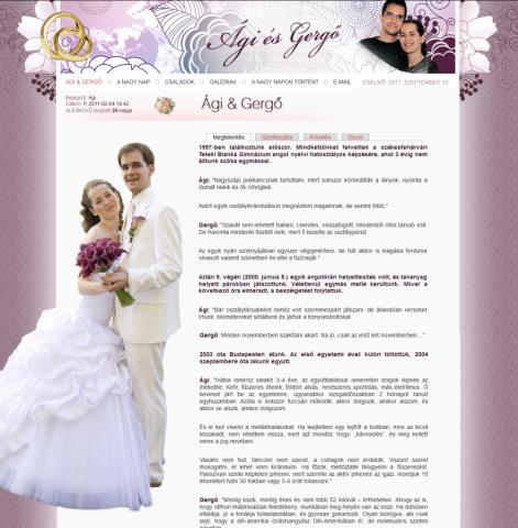 Ági és Gergő esküvői honlap - nyitóoldal az esküvő után, GevaPC honlap