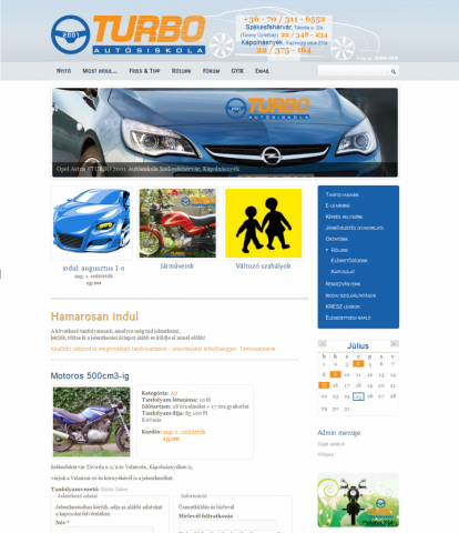 TURBO Autósiskola honlap - GevaPC honlap és smink