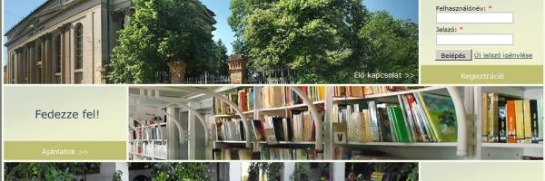 A könyvtár kezdő oldala, háttérben a könyvtárról készült fotóval
