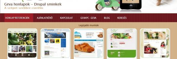 GevaPC Drupal referencia honlap, responsive sminkkel