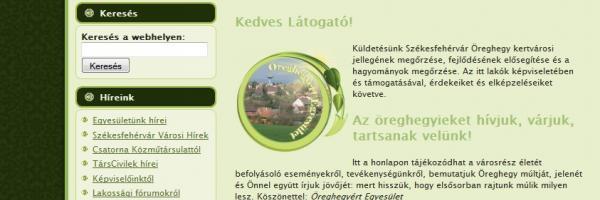 Öreghegyért Egyesület - Székesfehérvár - honlapja